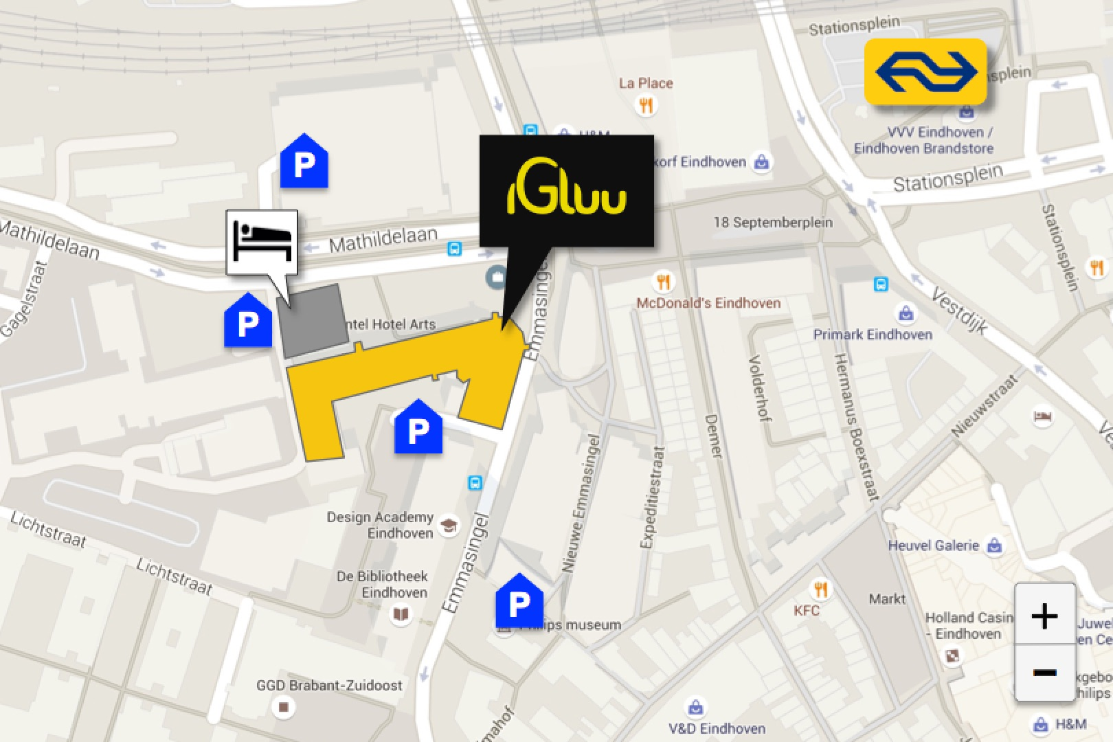 Igluu Eindhoven is located next door to the Inntel Art Hotel, within a few minutes walking distance from the Central Station and surrounded by multiple parking garages.