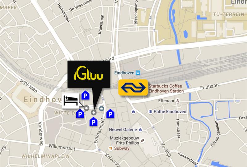 Igluu Eindhoven ligt direct naast het Inntel Art Hotel op enkele minuten lopen van het Centraal Station en is omringd door parkeergarages.
